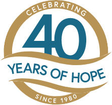 Celebrating 40 Years of Hope Logo.
