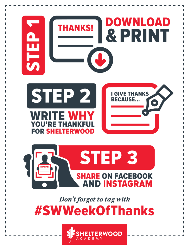 Steps for Shelterwood Week of Thanks.